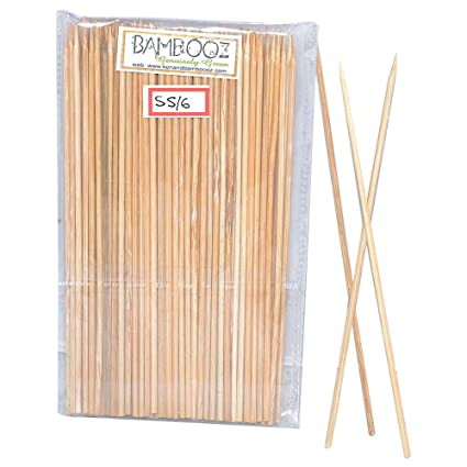 Bamboooz Bamboo Skewers (Beige, 6-inch) - Set of 100