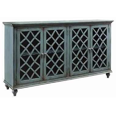 Ashley Furniture Signature Design - Mirimyn 4-Door Accent Cabinet - Antique Teal Finish - Lattice Design Glass Inlay Doors