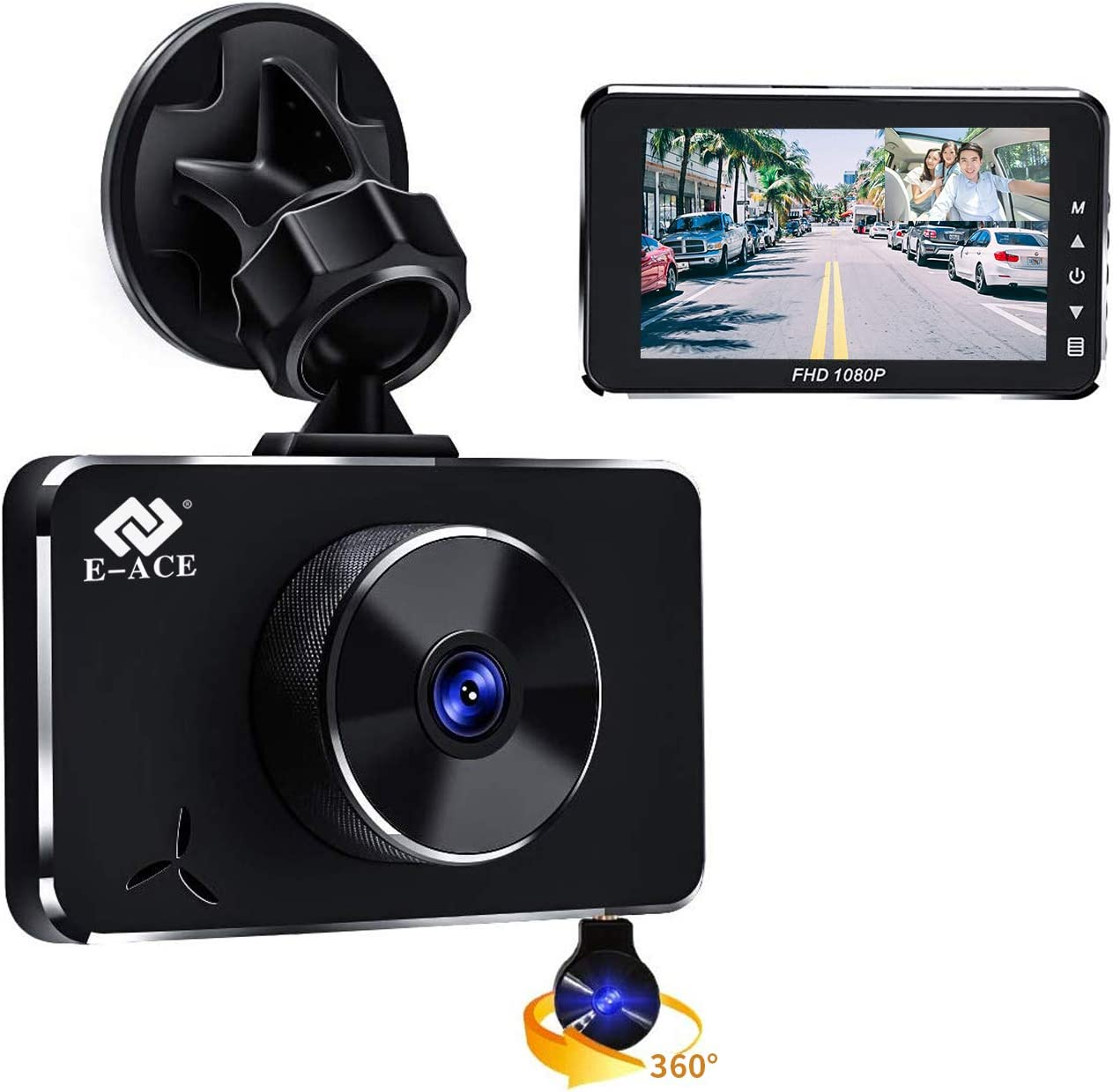 E-ACE Dual Dash Cam for Cars 1080p Front and Cabin Inside Cameras 360 Degree Rotatable Camera with Night Vision, G-Sensor, Loop Recording,WDR,Motion Detection [Alloy Shell]