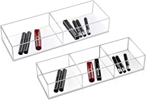 Dingelex Clear Makeup Desk Drawer Organizer Tray for Vanity, Acrylic Office Desk Drawer Organizer,Set of 2