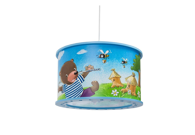 Elobra Kinderlampe Bär Pendelleuchte für Kinder, Holz, 40 W, Blau