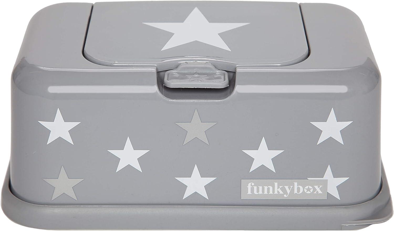 Funky Box FB13 Funkybox - Cajita para toallitas húmedas, color gris diseño estrellas