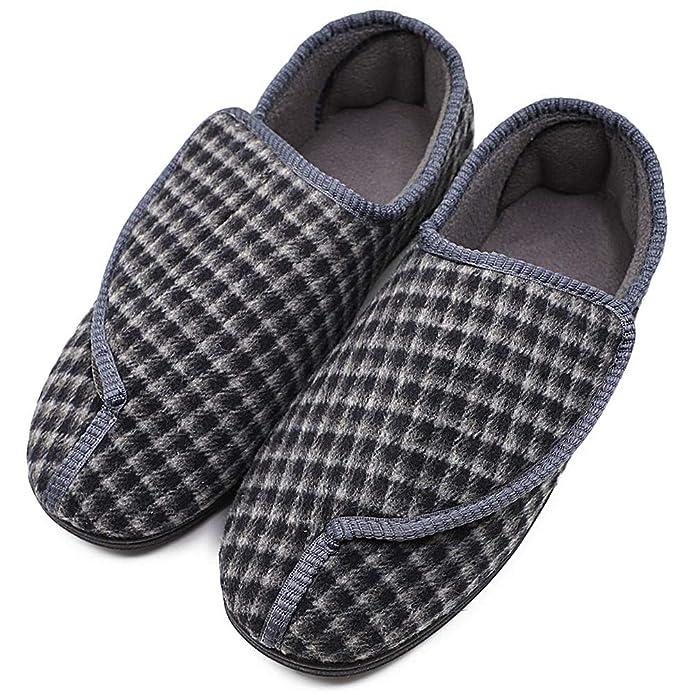 907d028e72 Amazon.com | Men's Diabetic Orthopedic Shoes Memory Foam Cozy Warm Slippers  Coral Fleece Adjustable House Footwear Wide Fit Cushioned for Swollen Edema  | ...