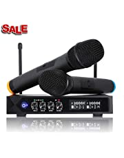 Karaoke Wireless Microphone System Bluetooth 4.1 Mic, LESHP S9 UHF Cordless Microphone Dual Channel Handheld Microphones Professional with LCD Display for Family Party, Church, Metting, Singing