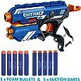 MousePotato Blaze Storm Soft Bullet Gun with 10 Foam Bullets & Suction Dart Bullets (HOT FIRE36)
