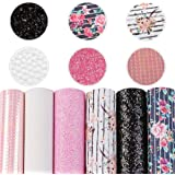 """Flower Printed Faux Leather Fabric Sheets 6 Pcs 7.8""""x13.3"""" (20 cm x 34 cm) Chunky Glitter Faux Leather Fabric Sheets…"""