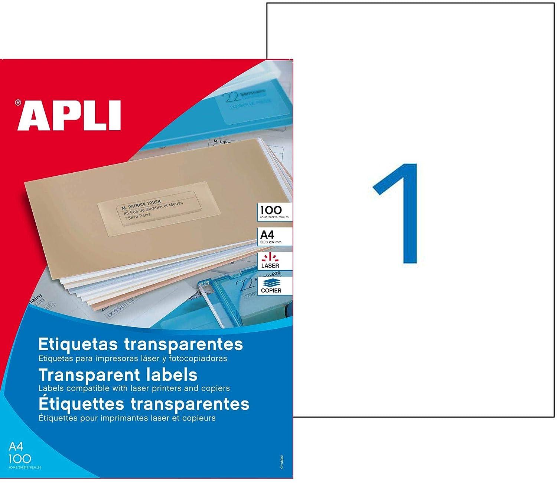 Agipa - Paquete de 100 etiquetas transparentes, 210 x 297 cm ...