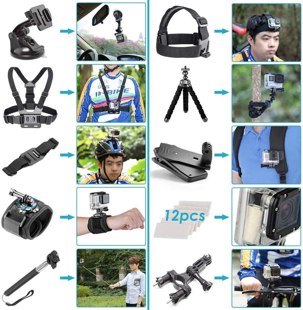 3 2 1 Hero Session 5 Black AKASO EK7000 Apeman SJ4000 5000 6000 TPOTOO 50pcs Camera Accessories Cam Tools for Outdoor Photography Cameras Protection Tool Set for GoPro Hero 6 5 4 3