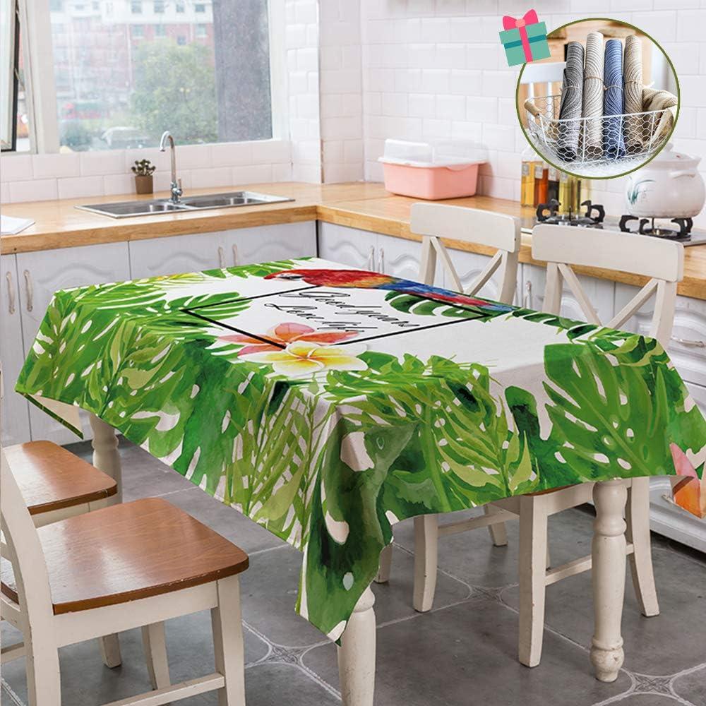 Fansu Nappe de Table Rectangulaire Tropicale Motif de Fleur doiseau Anti Tache R/ésistant Lavable Nappe pour Cuisine//Salle /à Manger//Jardin//Ext/érieur Int/érieur 60x60cm,Floral