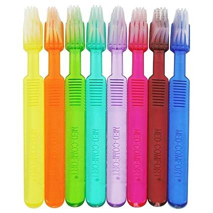 Cepillos de dientes desechables Ampri Med Comfort con pasta de dientes en 8 colores, 100
