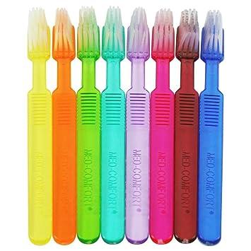 Cepillos de dientes desechables Ampri Med Comfort con pasta de dientes en 8 colores, 100 unidades: Amazon.es: Salud y cuidado personal
