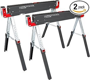 SAWHORSE Adjustable Height Width Jobsite Table Folding Heavy Duty Steel Portable