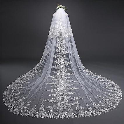 576eea9aa Velo de novia 3 metros Blanco Catedral Largo Borde Velo de la novia con  Peine Boda
