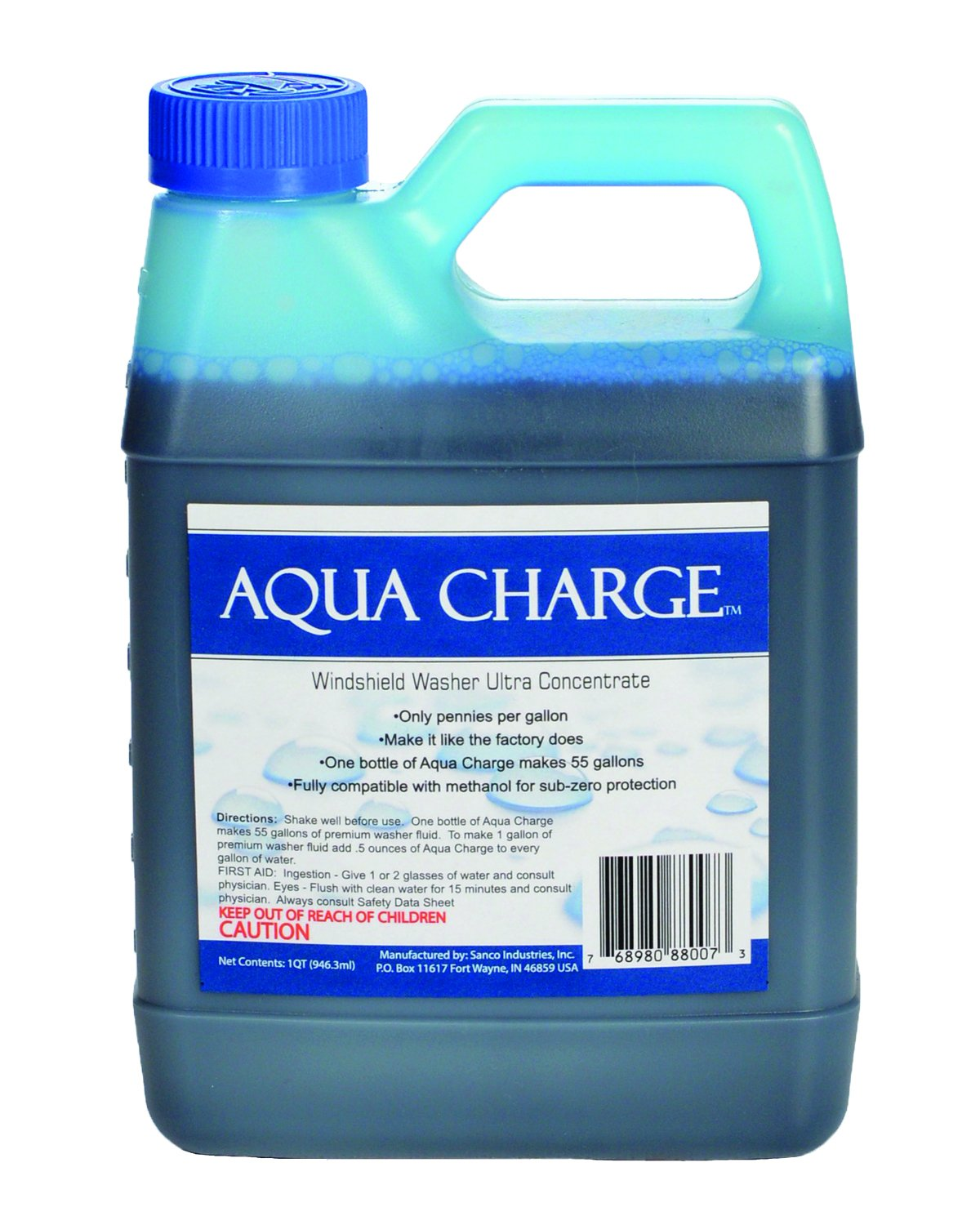 Aqua Charge Windshield Washer Ultra Concentrate, 1 quart makes 55 gallons finished product by Sanco Industries