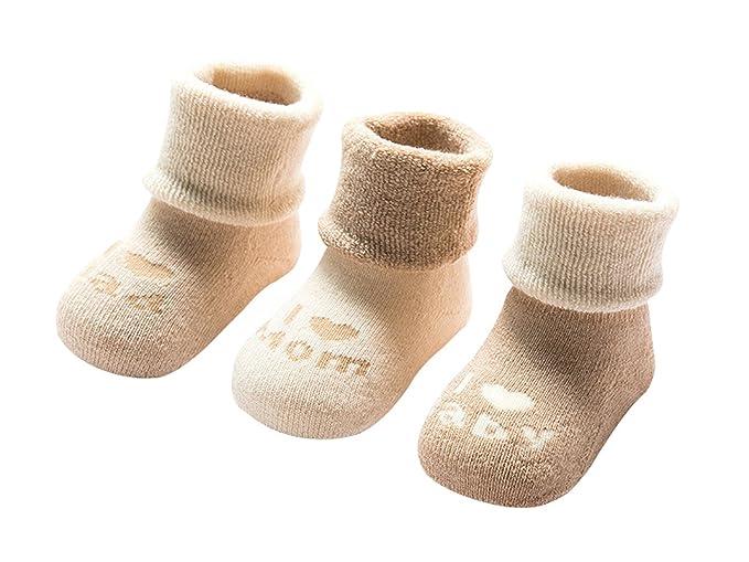 DEBAIJIA 3 Pares de Calcetines Bebé Algodón organico Grueso Calcetines  Térmicos Largo Recién Nacidos 0-36 Meses Invierno Para Niños Niñas   Amazon.es  Ropa y ... a6e1c8f8fb6