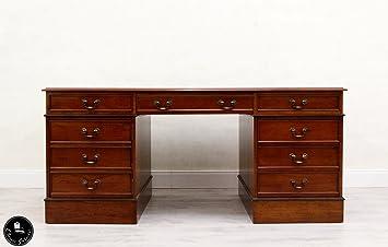 Schreibtisch Chesterfield Leder Antik Tisch Englisch Kolonialstil