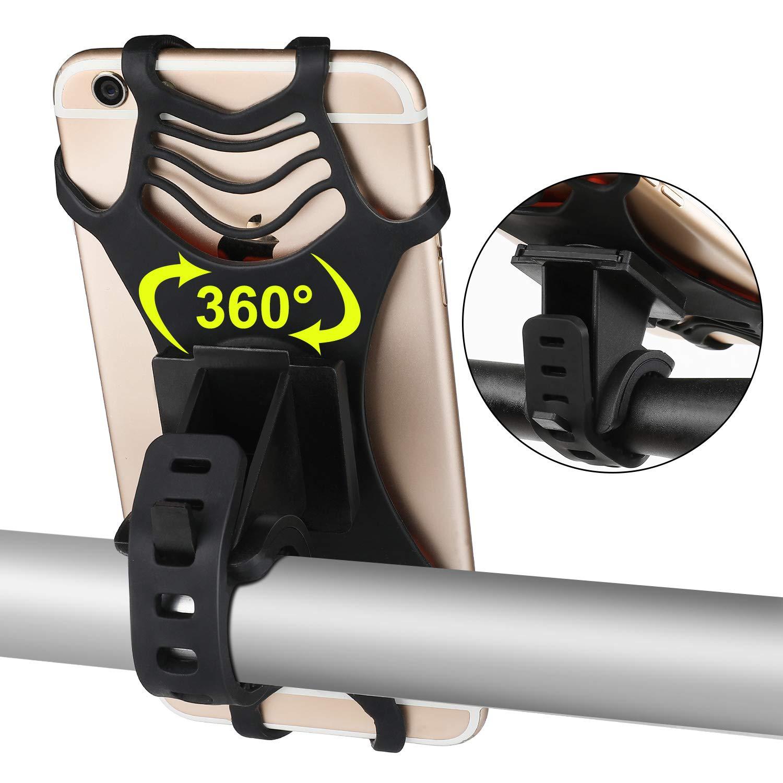 VOGEK Fahrrad Handyhalter, Silikon Handyhalterung Fahrrad Motorrad Handyhalter mit 360° Drehbare Verstellbar Fahrrad Lenker für Alle Geräte mit 4,0-6,5 Zoll Bildschirm