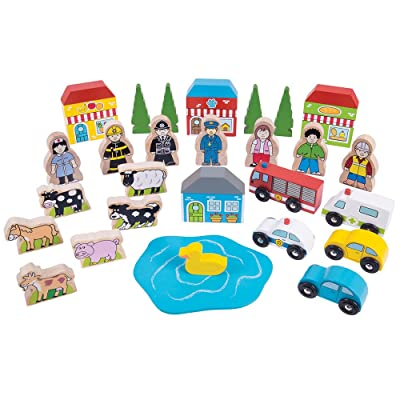 Bigjigs Rail Trackside Accessory Set - Wooden Train Set Accessories: Toys & Games