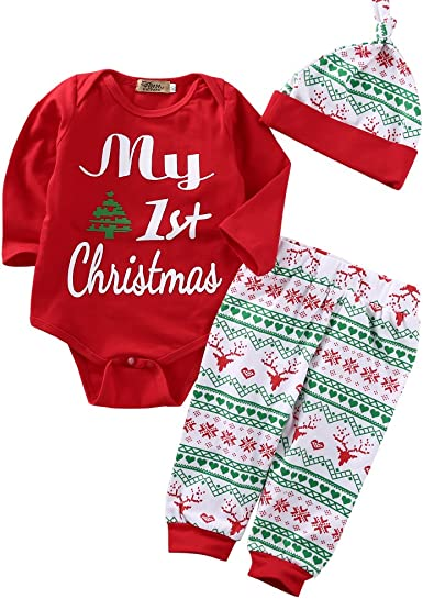 6-9 Months Romper Christmas Baby Gift Baby Red//Grey Striped Hat /& Footed Coverall Set