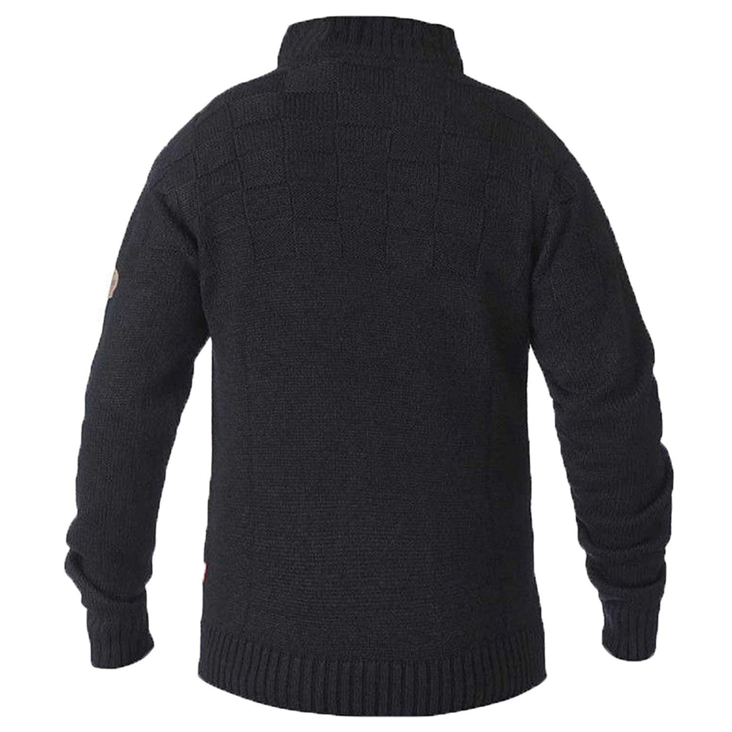 mens jumper D555 Duke big king size knitted sweater pullover zip button winter