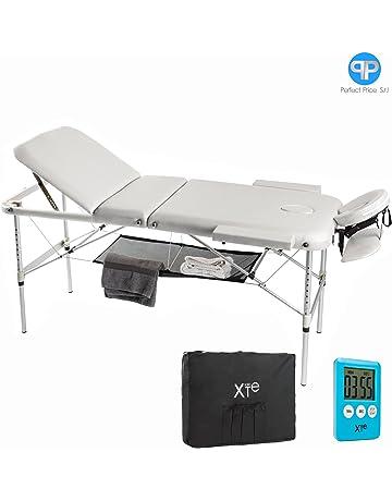 Camilla de masaje, 3 zonas, de aluminio, portátil y reclinable, con temporizador