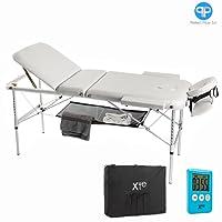 3zones Aluminium Table de massage portable inclinable gratuit avec minuteur et porte-serviettes