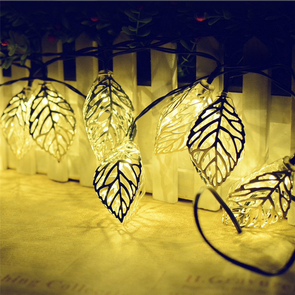 KingTo Garden Decoration Solar String Lights,20 LED Leaves Shaped Fairy String Light for Outside Garden Camping Patio Party Holiday Wedding(Leaves,Warm White)