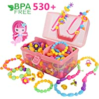 Conleke Pop Snap Beads with Mermaid Hairpin,Jewelry Making Kit(530PCS)- Hairband Necklace Bracelet and Ring Creativity DIY Set,Ideal Christmas Birthday Gifts for Girls Age 4 5 6 7 8 Year Old Kids Toys