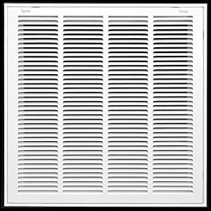 "20"" X 20"" Steel Return Air Filter Grille for 1"" Filter - Removable Face/Door - HVAC Duct Cover - Flat Stamped Face - White [Outer Dimensions: 22.5 X 21.75]"