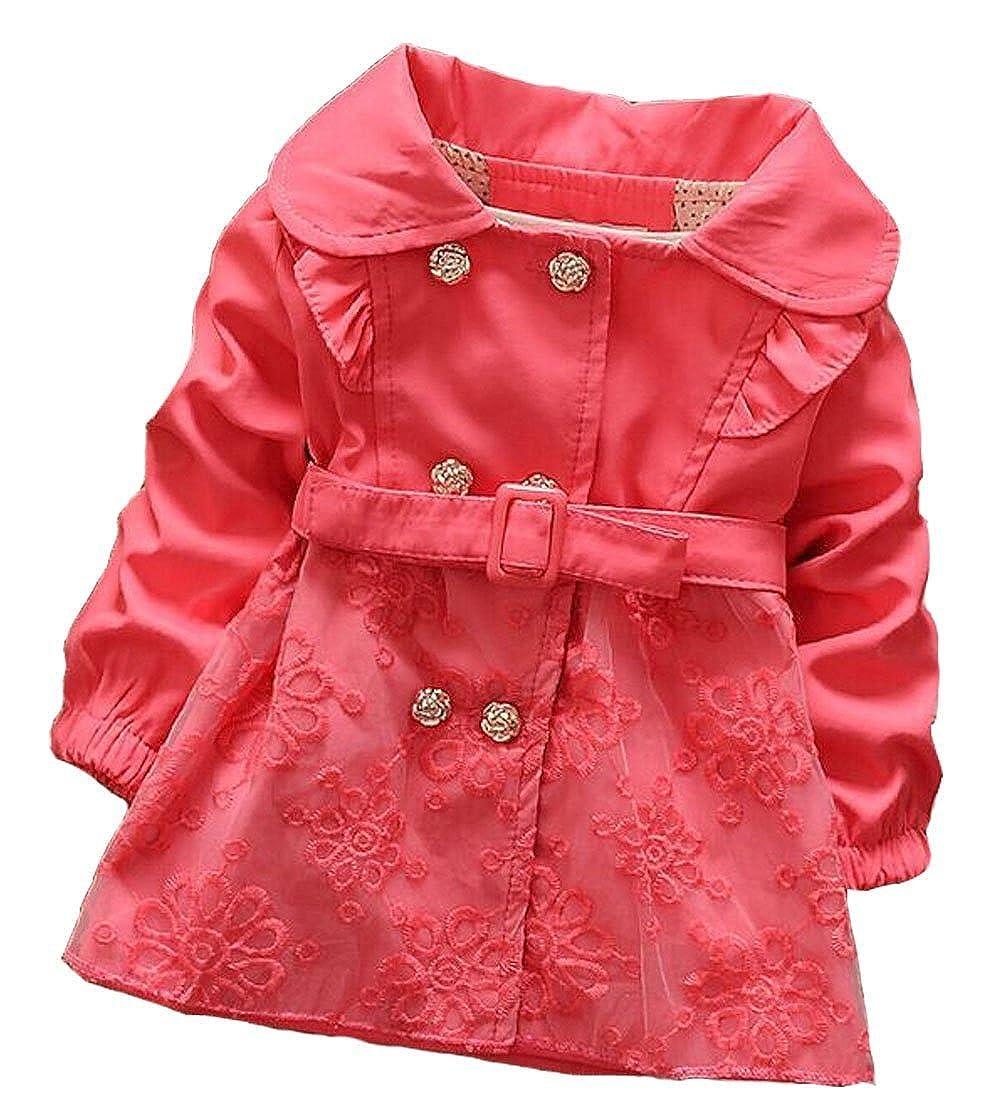 Jojobaby Baby Girls British Style Windbreak Cotton Outerwear Wind Coat