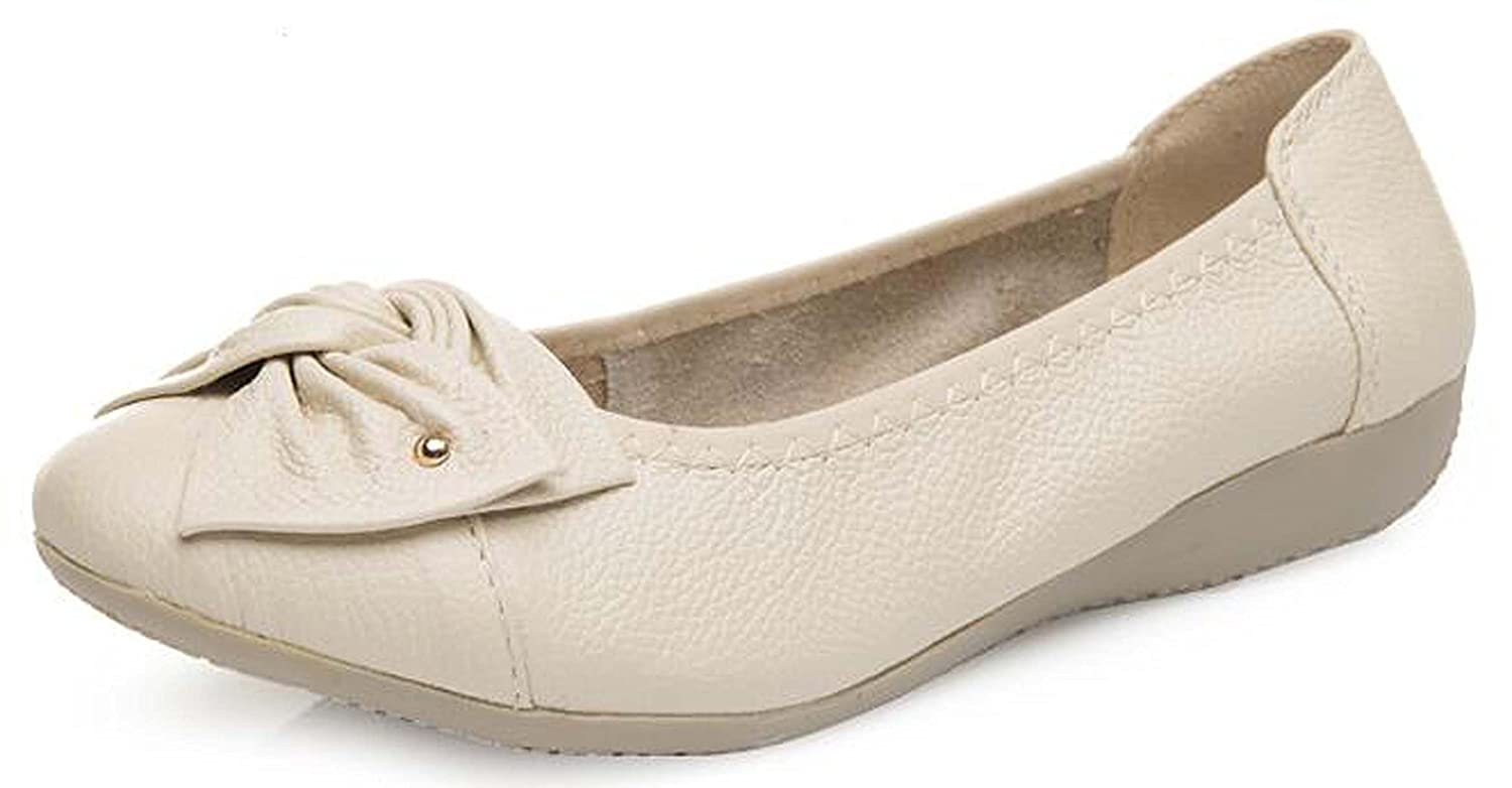 Womens Spring Cowhide Leather Bow Wedge Casual Comfort Loafers Lady Work Shoes Size 10
