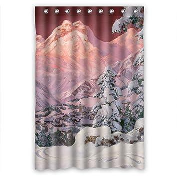 Montagne de ski tendance-Rideau de douche-polyester-mesure 48 cm (l ...