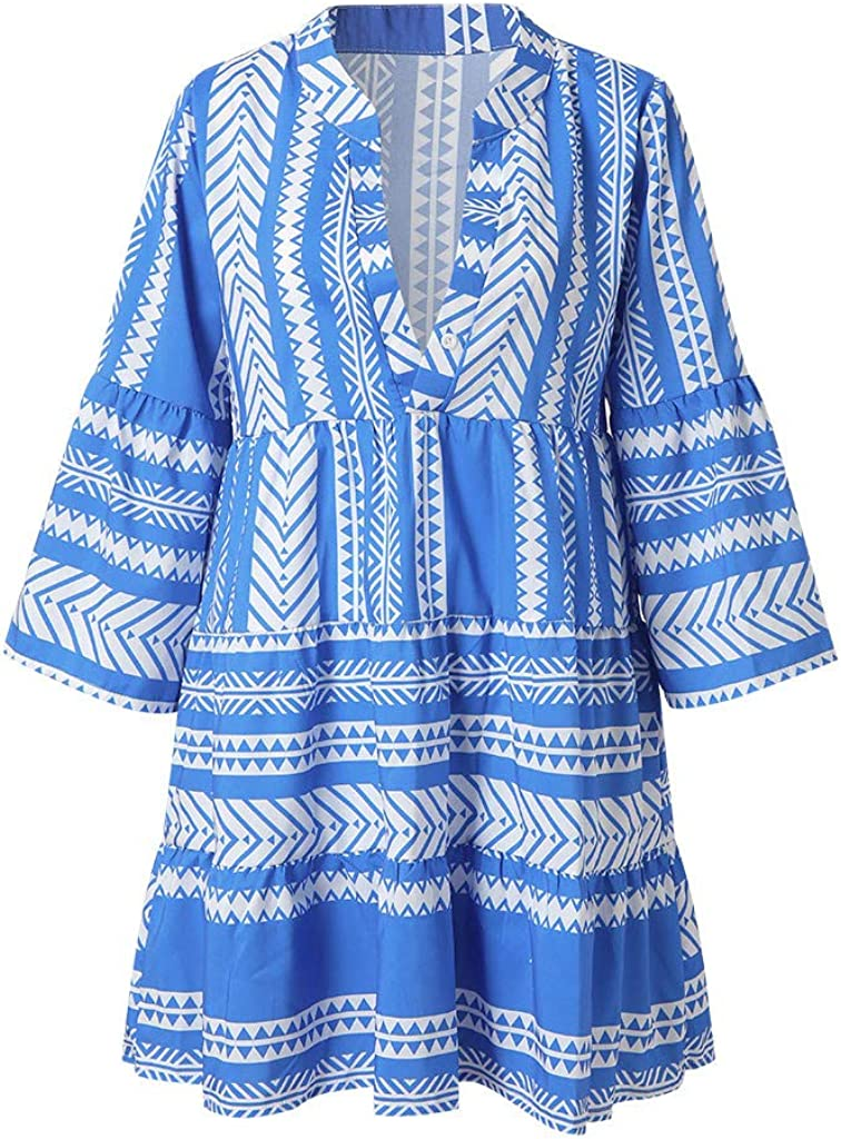 RTYou Dress for Women Short Sleeve Tassel Casual Loose Tunic Shift Dress with Pockets