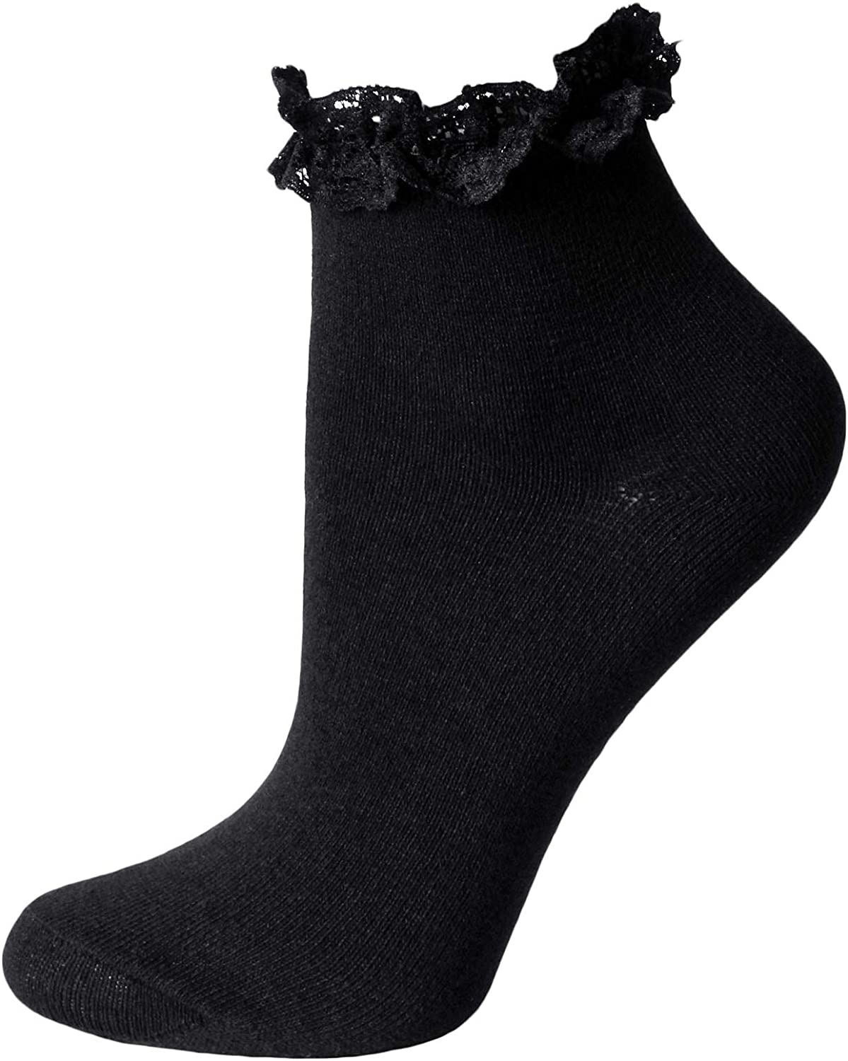 Girls Pretty Frilly Lace Top Soft Cotton Rich Back to School Ankle Socks 6 pair Black//White Black, 9-12