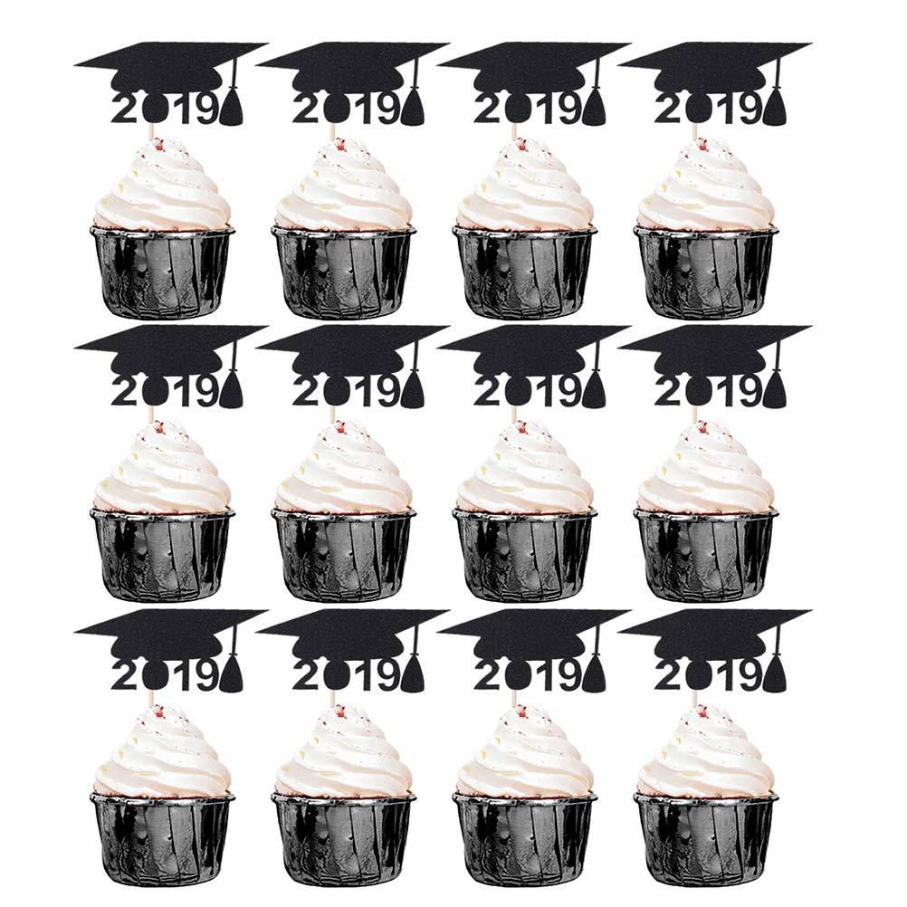 Healifty Graduaci/ón de la Torta de la graduaci/ón de 2019 decoraci/ón del Postre de la Fruta Tarjeta del Parte movible de la graduaci/ón para los favores de Partido suministra 18pcs