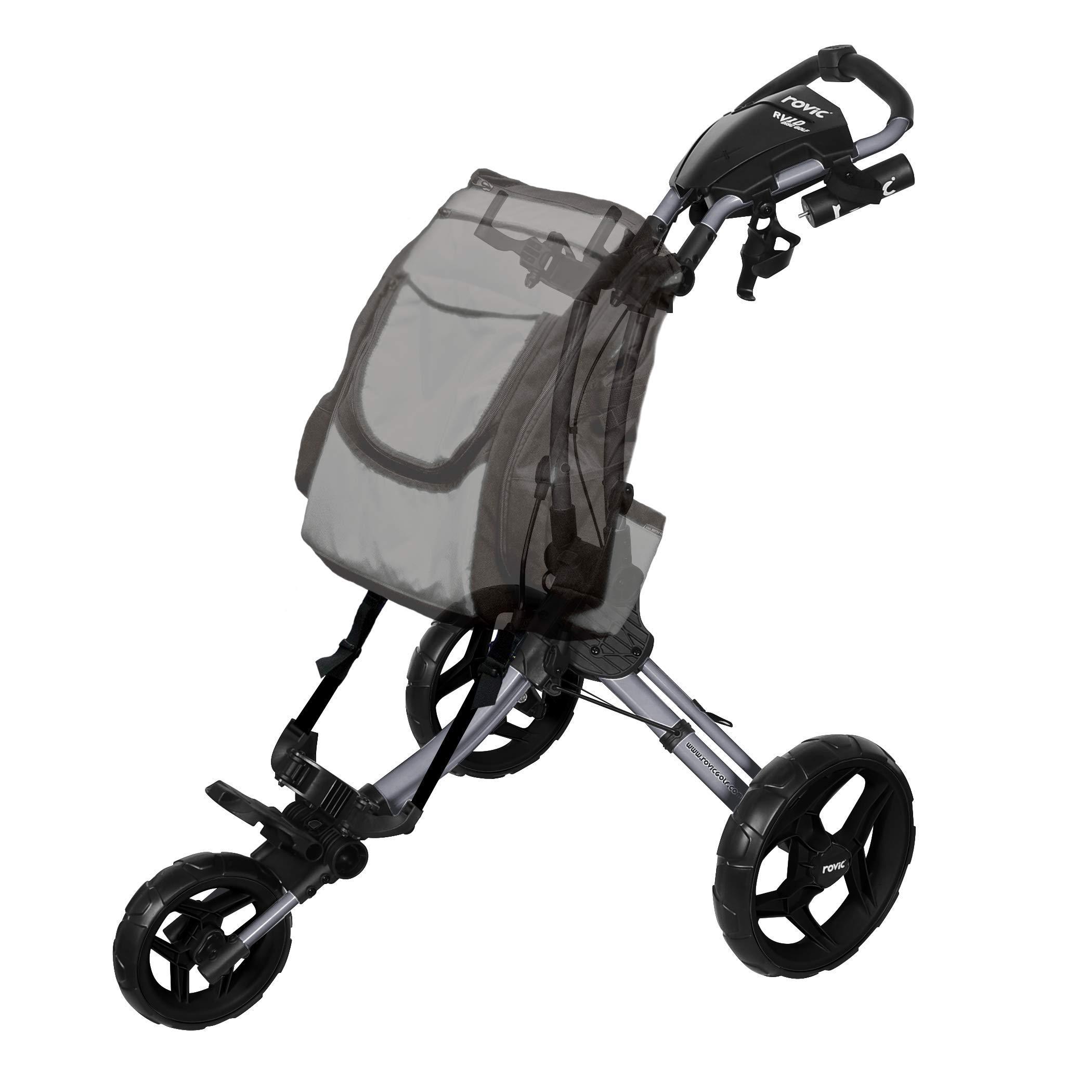 Rovic RV1D 3-Wheel Disc Golf Push Cart | Fits All Disc Golf Backpacks (Silver/Black) by Rovic