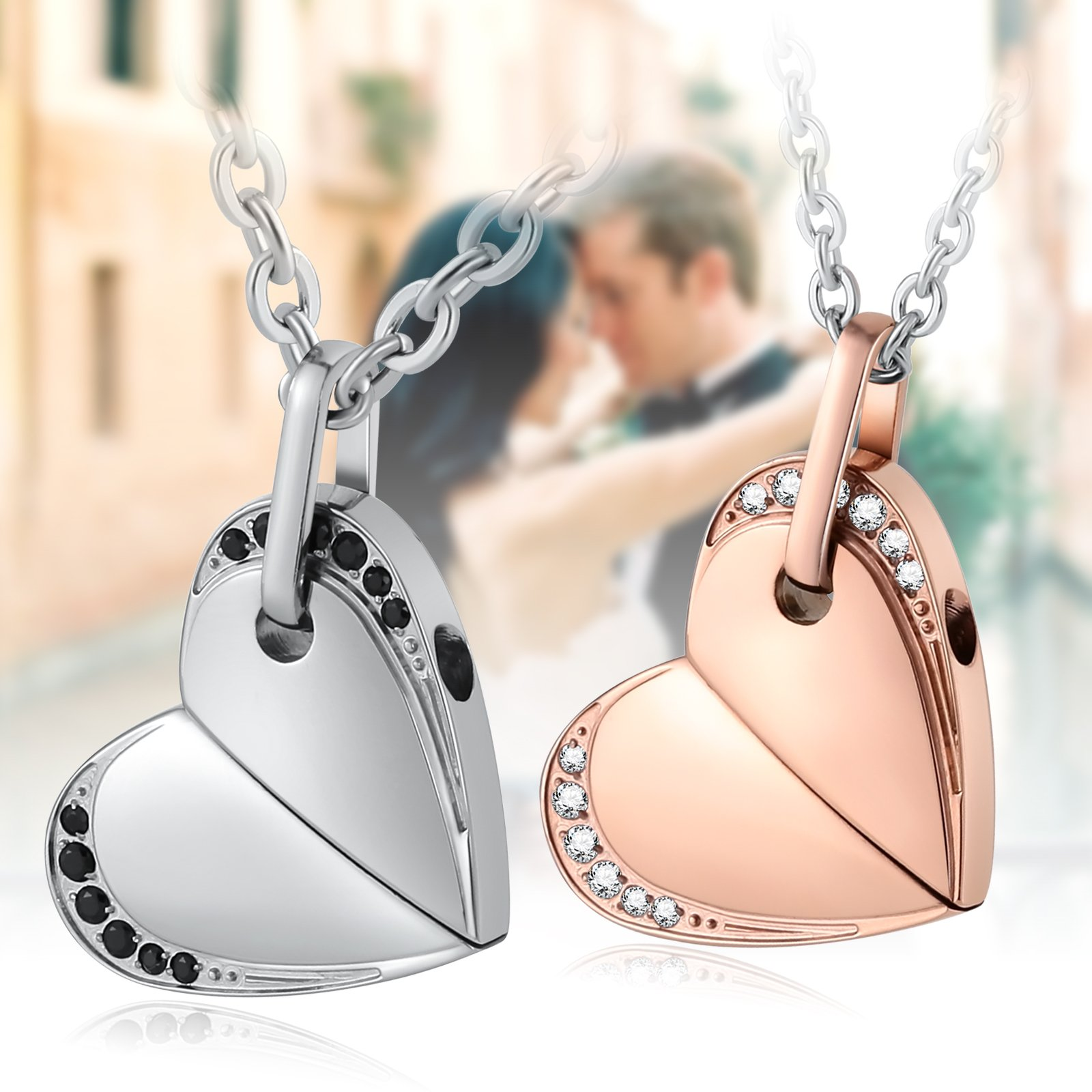 Aienid Stainless Steel Necklace for Couple Heart Move for You Rotatable Heart Pendant Necklace by Aienid (Image #6)