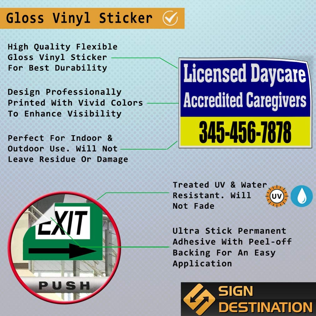 Custom Door Decals Vinyl Stickers Multiple Sizes Accredited Caregivers Phone Number Blue Business Licensed Daycare Outdoor Luggage /& Bumper Stickers for Cars Blue 34X22Inches Set of 10