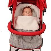 Juner Newborn Baby Boys Girls Thick Swaddle Cradle Pram Polar Fleece Lining Knitted Sleeping Bag Soft Warm Sleep Sack Stroller Wrap (Gray, 27.6 ×15.7 )
