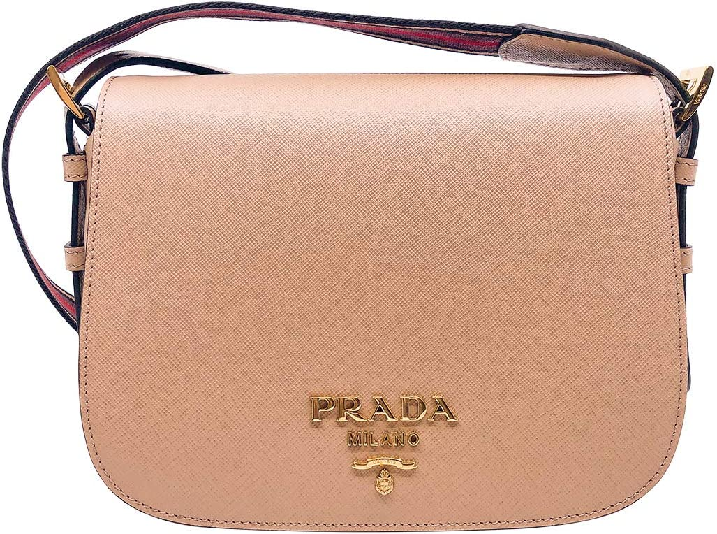 Prada Women Saffiano Leather Web Strap Cross Body Shoulder Bag Beige 1BD192