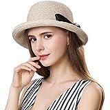f00dc9393de Womens Sun Summer Straw Beach Hat Fashion Stylish Travel Panama Fedora Hats  Foldable UV Beige SiggiHat