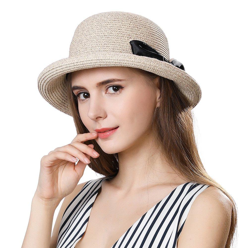 SiggiHat Womens Sun Summer Straw Beach Hat Fashion Stylish Travel Panama Fedora Hats Foldable UV Beige