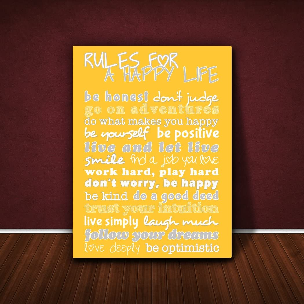 Feel Good Art A4 Gallery Wrapped Modern Typographic Box Canvas Rules for a Happy Life 12 x 8-Inch, Hot Pink