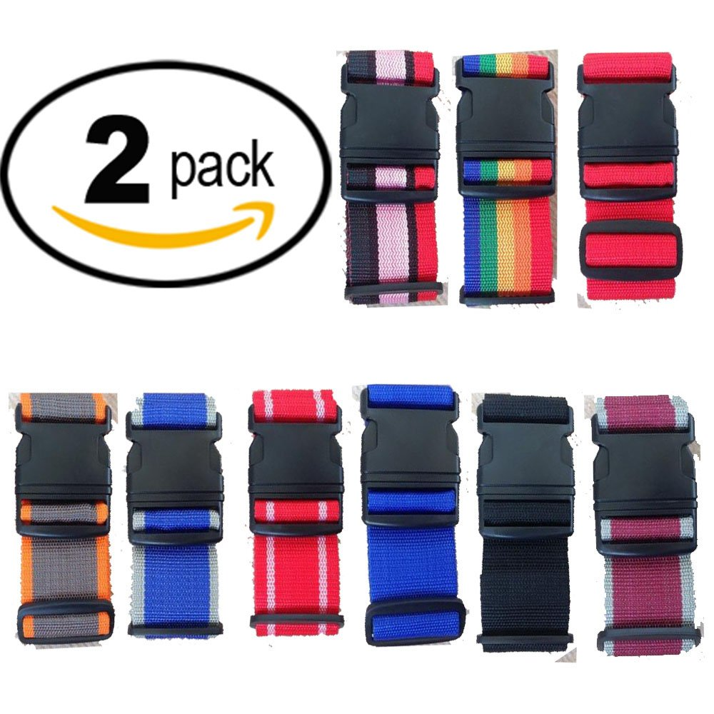 2 X Luggage Straps. 2 Pack Adjustable Suitcase Straps, Luggage Belt with Tags. Random Colours. 2M x 5CM 10434963