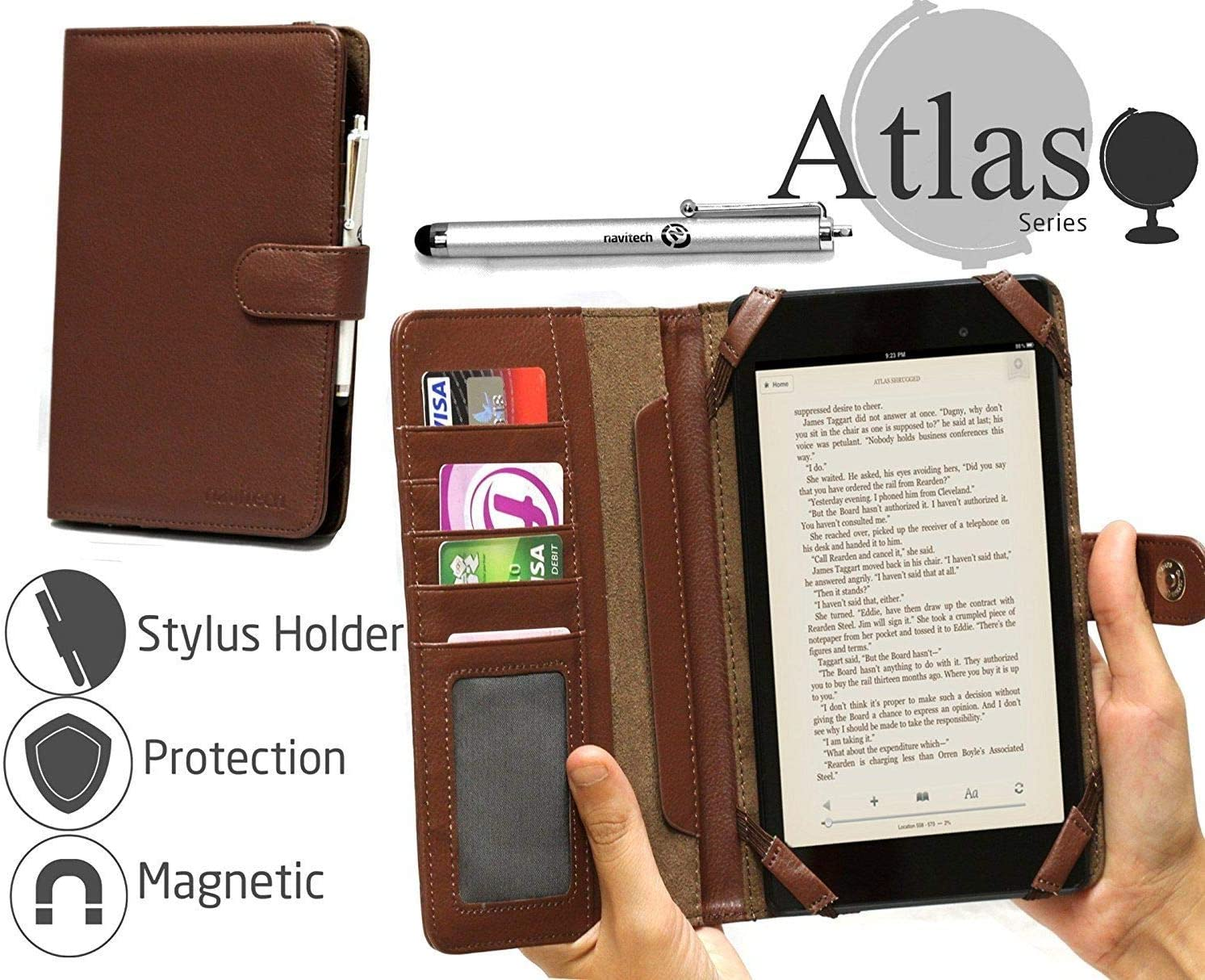 Cover For The HIPSTREET/Titan 4 Navitech Brown Book Style Case