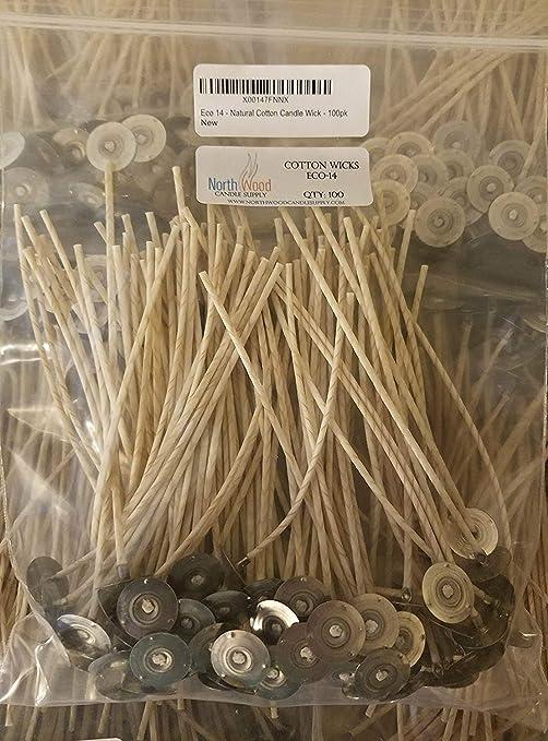 Eco 14 - Mecha de algodón natural para vela, 15,2 cm, 100 unidades ...