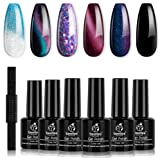Beetles Milky Way Glitter Gel Nail Polish Set - 6 Colors Collection Black Gel Polish Kit Soak Off Nail Lamp Cat Eyes…