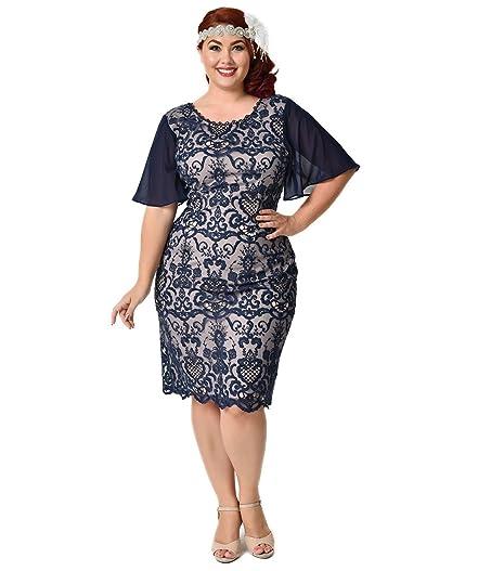 Plus Size Vintage Style Navy Blue Butterfly Sleeve Lace Wiggle Dress