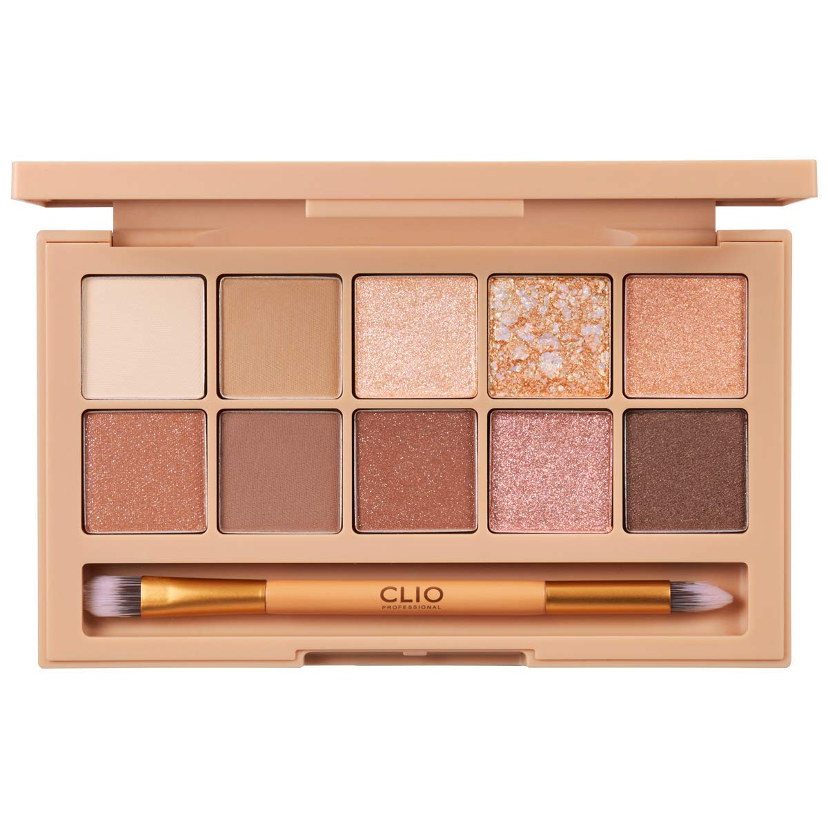 CLIO Pro Eye Shadow Palette | Matte, Shimmer, Glitter, Pearls, Highly Pigments, Long-Wearing | Brown Choux (#02)