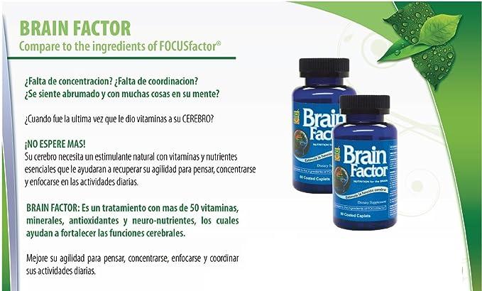 Brain Factor Vitaminas para el cerebro, mejoran la concentracion, enfoque y memoria. Aumente su agilidad para pensar, concentrarse y coordinar sus ...